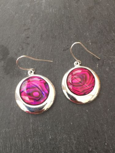 Paua Red Earrings - Large Circle PE17-LC